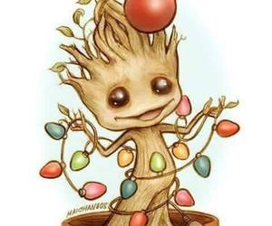 groot, christmas, and guardians of the galaxy image