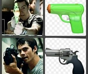 gun, maze runner, and dylan o'brien image