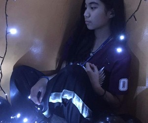 girl, lights, and winterparty image