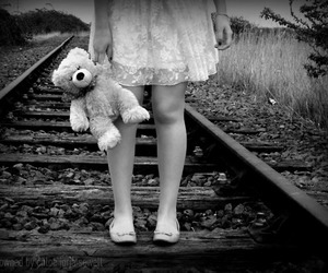railway, teddy, and traintracks image