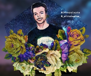 art, stars, and flowers image