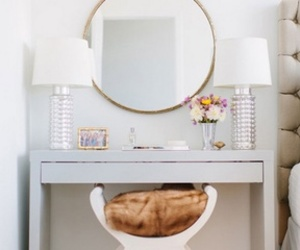 white, decor, and mirror image