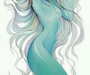 mermaid, art, and blue image