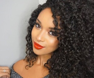 Afro, black woman, and makeup image