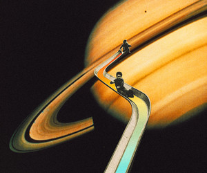 dark, planets, and saturn image