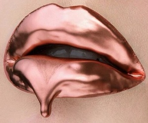 lips, rose gold, and makeup image