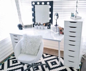 room, makeup, and white image