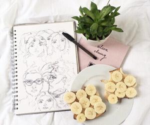 banana, pastel, and pink image