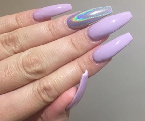 nails, purple, and holographic image