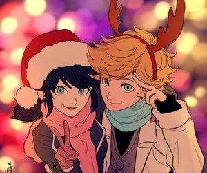 marinette, Adrien, and miraculous ladybug image
