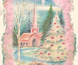 church, light pink, and tree image