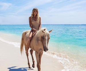 beach, horse, and girl image