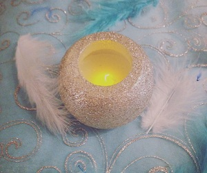 candle, sparkles, and table decoration image