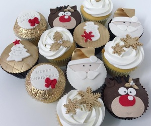 christmas, cupcakes, and food image
