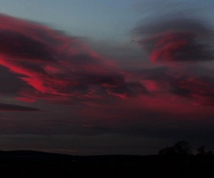 red, sky, and clouds image