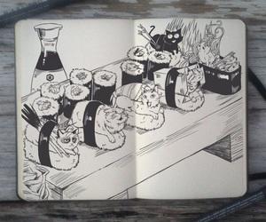 cat, sushi, and art image