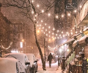 holiday, snow, and beautiful nights image