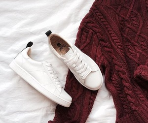 red, shoes, and white image