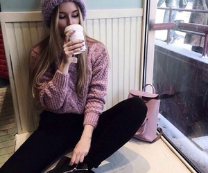 fashion, coffee, and pink image