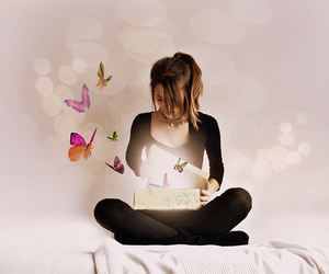 girl and butterfly image
