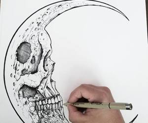 drawing, moon, and art image