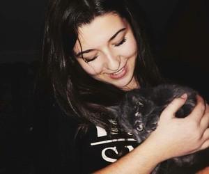 cat, dark, and girl image