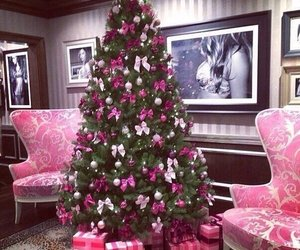 christmas, pink, and christmas tree image