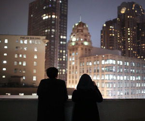 city, couple, and night image