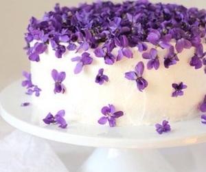 cake, purple, and flowers image