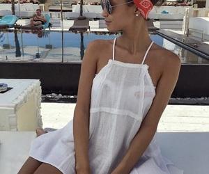 bandana, dress, and beach image