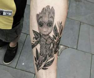 tattoo, groot, and guardians of the galaxy image