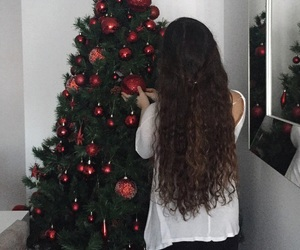 brunette, christmas tree, and curly hair image