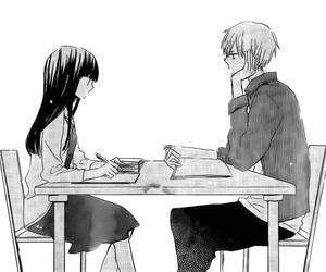 black&white, cute couple, and manga girl image