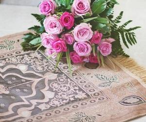 flowers, hijab, and prayer image