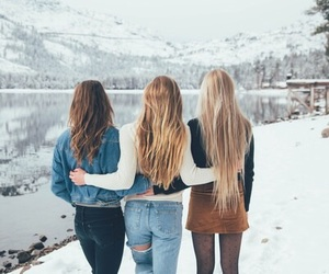winter, girl, and friends image