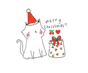 art, cat, and christmas image