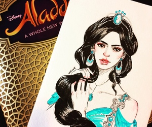 aladdin, art, and jasmine image