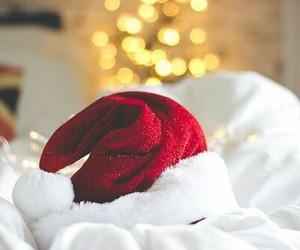 christmas, hat, and lights image