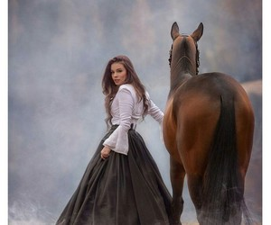 dress, girl, and horse image
