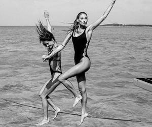bikini, black and white, and girls image