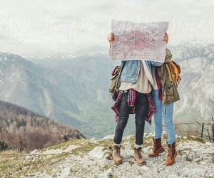 travel, map, and mountains image
