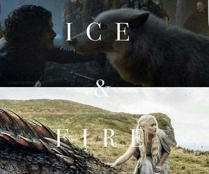 dragon, jon snow, and fire image