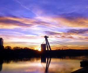 blue, bridge, and river image