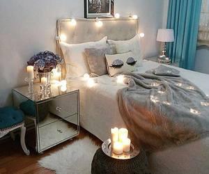 bedroom, decor, and lights image