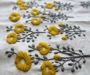 flowers, yellow, and embroidery image