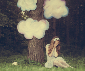 girl, clouds, and tree image