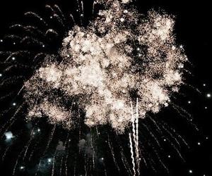 fireworks, dark, and gold image