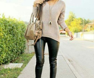 casual, leather, and cold day image