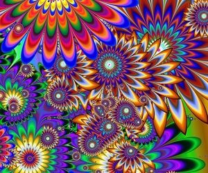 art work, colorful, and flowers image