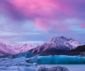 mountains, snow, and pink image